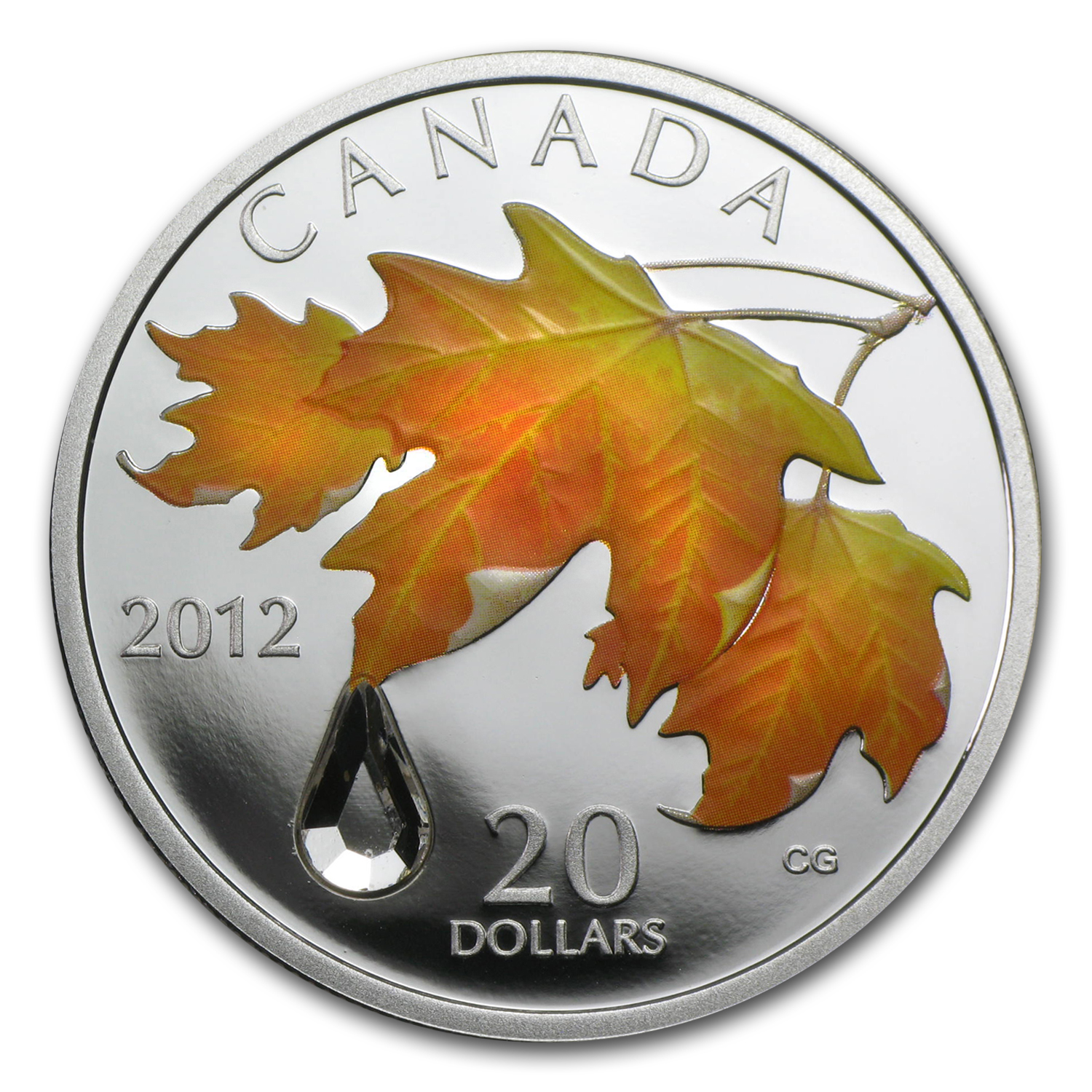 2012 Canada 1 oz Silver $20 Crystal Raindrop Sugar Maple